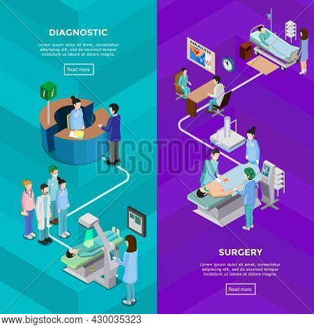 Two Hospital Vertical Banners With Functional Tomography Equipment And Surgery Operation With Patien