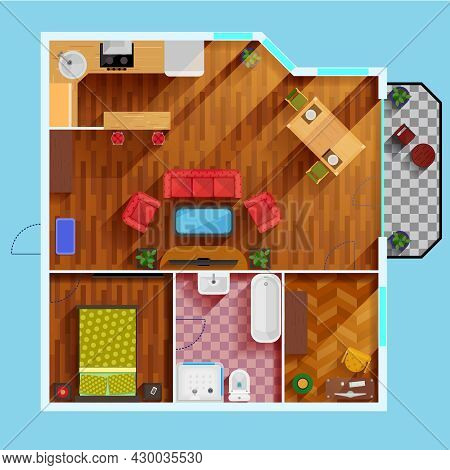 One Bedroom Apartment Floor Plan With Kitchen Dinning Area Balcony Bathroom And Rooms For Study And