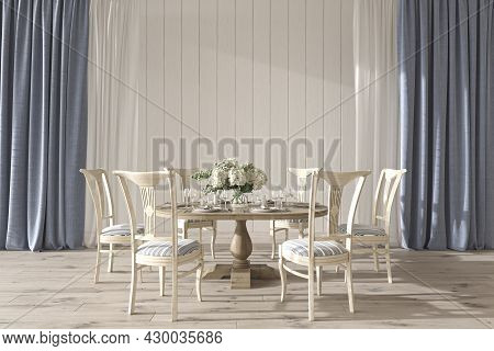 Coastal Design Wedding Room Interior With Dining Table. Mock Up White Wall In Beautiful House Backgr