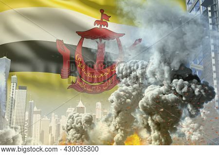 Large Smoke Column With Fire In The Modern City - Concept Of Industrial Catastrophe Or Terrorist Act