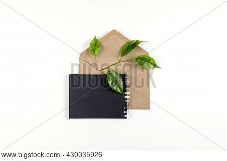 Black Notebook Andenv Elope Made From Recycled Paper Lie On White Surface With Sprig Of Green Plant.