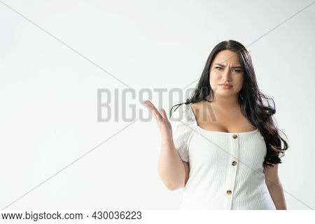 Omg Wtf. Annoyed Woman. What Problem. Crazy Situation. Pissed-off Gloomy Plus Size Lady Looking Conf