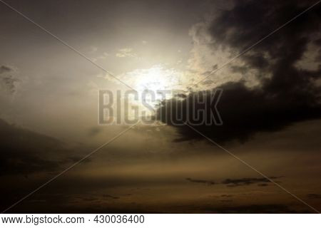 Grey Sky. Sunlight. Clouds Are Floating Across The Sky. Backgrounds. Space To Copy