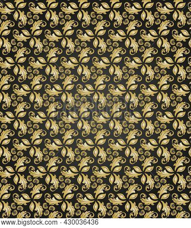 Floral Ornament. Seamless Abstract Classic Background With Flowers. Golden Pattern With Repeating Fl