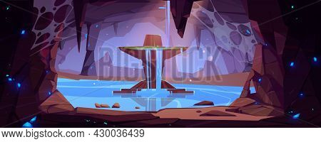 Underground Waterfall In Cave Scenery Landscape, Water Stream Fall From Rocky Cliff To Mountain Lake