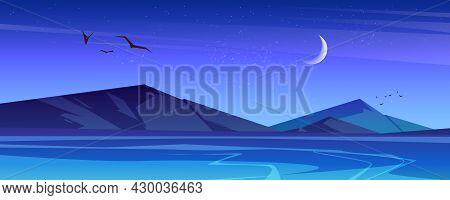 Night Landscape With Sea And Mountains On Horizon. Vector Cartoon Illustration Of Nature Scene Of La