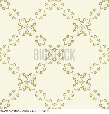Classic Seamless Pattern. Damask Orient Golden Ornament. Classic Vintage Background. Orient Ornament