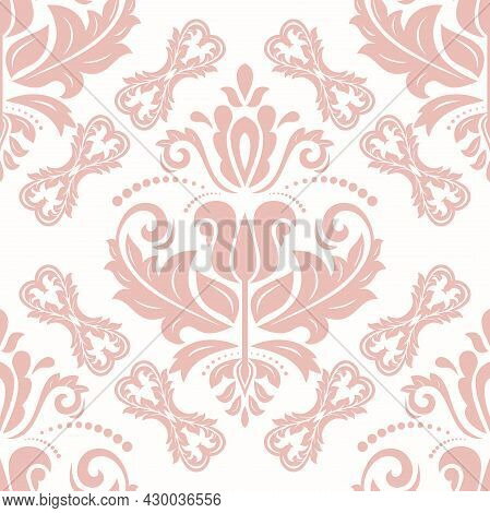 Classic Seamless Pattern. Damask Orient Pink Ornament. Classic Vintage Background. Orient Ornament F