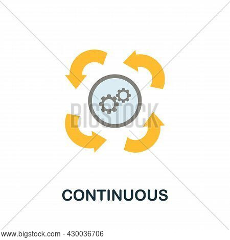 Continuous Icon. Flat Sign Element From Data Analytics Collection. Creative Continuous Icon For Web
