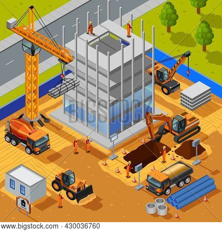 Construction Of Multistory Building Isometric Design Concept With Crane Bulldozer Workers Pipes Conc