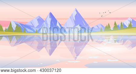 Sunrise Landscape With Lake, Mountains And Trees On Coast. Vector Cartoon Illustration Of Nature Sce