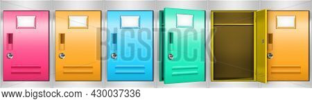 Row Of Locker Cabinets With Colored Compartments For Storage Room, Office, School Or Gym. Vector Rea
