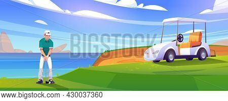 Golf Course On Lake Shore With Man And Cart On Grass. Vector Cartoon Illustration Of Golfer With Put