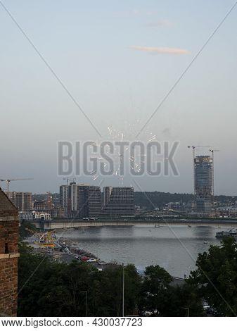 Belgrade, Serbia -  July 27, 2021: Belgrade Waterfront. Luxury Residences And Business Buildings Vie