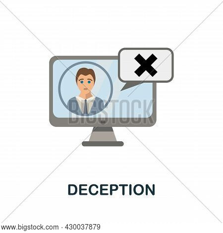 Deception Flat Icon. Colored Sign From Cyberbullying Collection. Creative Deception Icon Illustratio