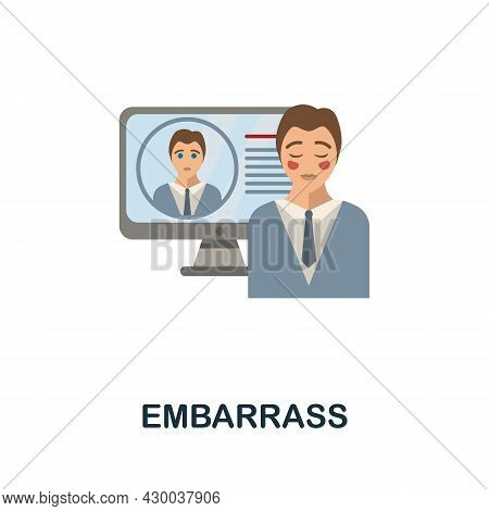 Embarrass Flat Icon. Colored Sign From Cyberbullying Collection. Creative Embarrass Icon Illustratio
