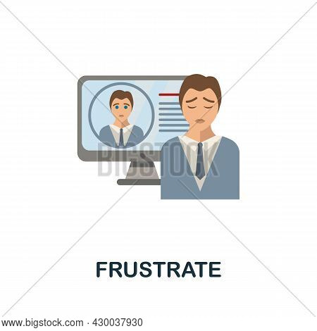 Frustrate Flat Icon. Colored Sign From Cyberbullying Collection. Creative Frustrate Icon Illustratio