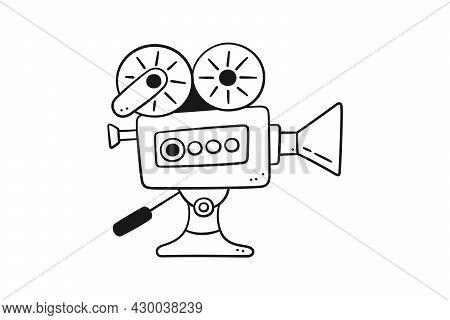 Hand Drawn Movie Camera. Cinema Projector In Doodle Style. Old Vintage Video Camera. Vector Illustra