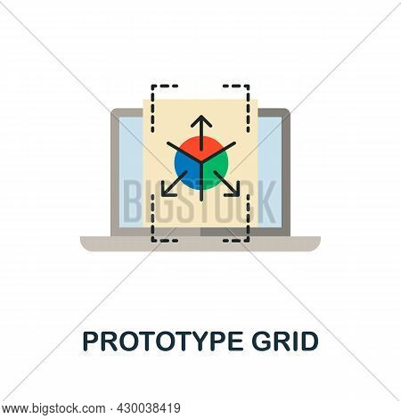 Prototype Grid Flat Icon. Colored Sign From Design Thinking Collection. Creative Prototype Grid Icon