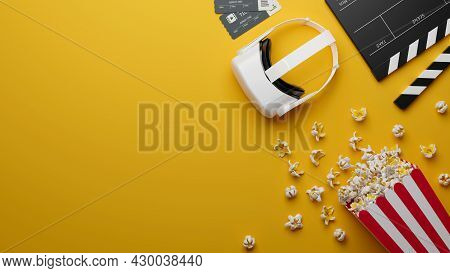 Vr Headset, Popcorn Box, Movie Ticket, Movie Clapper Board, Copy Space On Yellow Background
