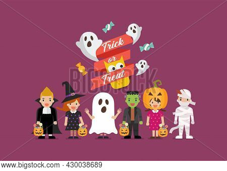 Halloween Party Children In Scary Different Costumes. Collection Of Cartoon Children In Carnival Cos