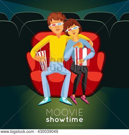 Cinema Time Background. Cinema Vector Illustration. Movie Night Design. Cinema Cartoon Decorative Sy