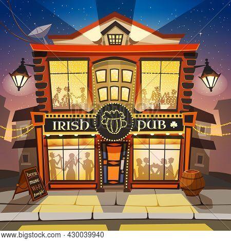 Irish Pub Cartoon Background.  Irish Pub Building Vector Illustration.  Irish Pub Design. Irish Pub