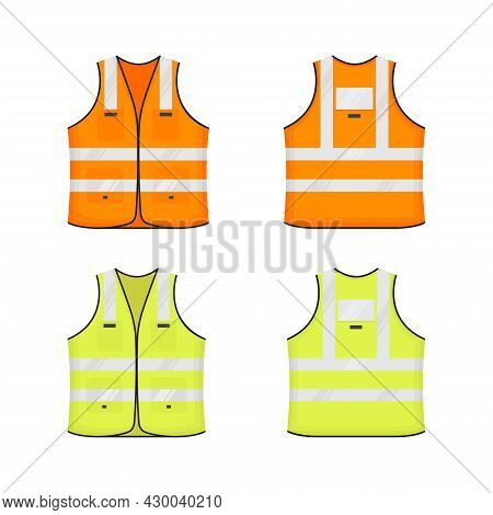 Safety Reflective Vest Icon Sign Flat Style Design Vector Illustration Set. Orange And Yellow Fluore