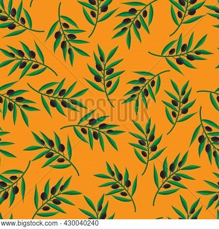 Black Olive Branches Seamless Vector Pattern. Olive Tree Leaves Repeating Mediterranean Background.