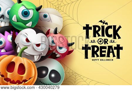 Halloween Character Vector Background Design. Happy Halloween Trick Or Treat Text With Scary, Spooky