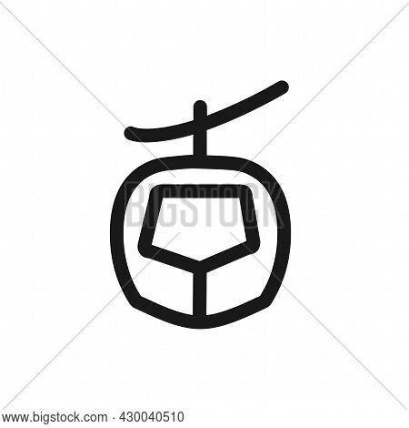 Cable Car Vector Icon. Cable Car Line Icon.