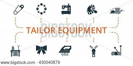 Tailor Equipment Icon Set. Contains Editable Icons Theme Such As Beads, Zipper, Embroidery Machine A