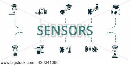 Sensors Icon Set. Contains Editable Icons Theme Such As Alcohol Sensor, Gas Sensor, Temperature Sens