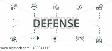 Defense Icon Set. Contains Editable Icons Theme Such As Password, Site Protection, Firewall And More