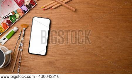 Painting Workspace Concept, Smartphone Mockup, Water Colour, Painting Brushes, Colour Pencils, Copy