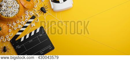 Halloween Virtual Experience Movie Night Banner Concept, Yellow Background, 3D Rendering