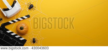 Vr Movie Theatre Banner In Halloween Theme, Pumpkin, Spiders, Copy Space On Yellow Background