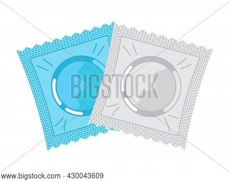 Condoms Icon Vector In Flat Style. Problems Of Unwanted Pregnancy