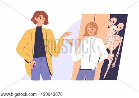 Woman Tell Lies And Deceive Man, Hide Skeletons In Closet. Distrust, Mistrust, Deception In Couple R