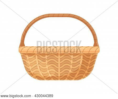 Straw Wicker Basket With Handle. Woven Wickerwork Without Lid Or Cover. Realistic Empty Basketwork F