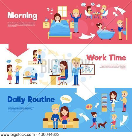 Scenes Of People In Daily Life Morning Work Time And Daily Routine Cartoon Style Horizontal Banners