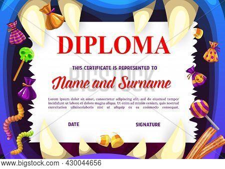 Children School Diploma With Halloween Sweets. Kids Education Achievement Award, Child Graduation Ve