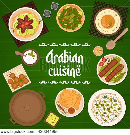 Arabian Cuisine Meat Meals, Dishes With Vegetables Menu Cover. Chickpea Falafel, Hummus And Matzah,