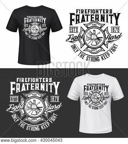 Fire Department Firefighter Emblem T-shirt Retro Print Template. Firefighting Rescue Service Apparel
