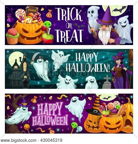 Halloween Trick Or Treat Banners With Pumpkin, Sweets And Ghosts. Jack O Lantern With Candies, Sorce