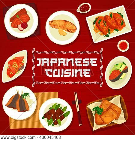 Japanese Cuisine Vector Simmered Perch Nitsuke, Beef Asparagus Rolls Hegimaki, Teriyaki Salmon, Fish