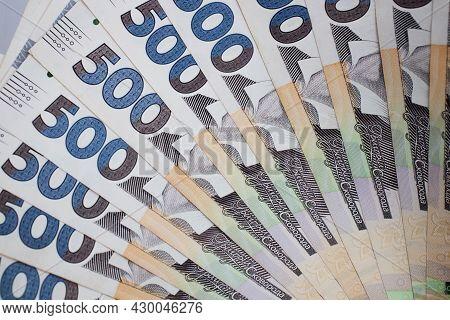 Background From Ukrainian Money. 500 Hryvnia Banknotes Closeup.