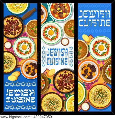 Jewish Cuisine Vector Lamb Lentil Stew With Dried Apricots, Hummus And Chicken Noodle Soup. Shakshuk
