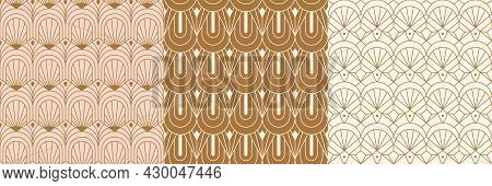 Art Deco Seamless Patterns Set In A Trendy Minimal Linear Style. Vector Abstract Retro Backgrounds W
