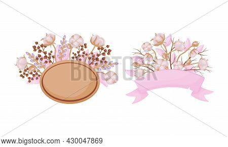 Cotton Plant Branches Set. Ripe Flowers Frames With Space For Text. Invitation, Greeting Card, Postc
